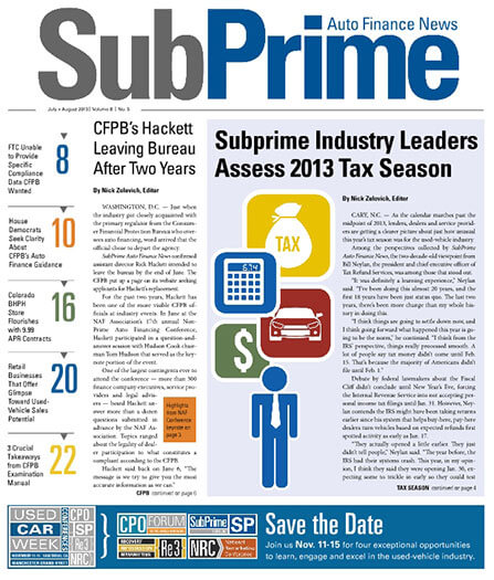 Latest issue of SubPrime Auto Finance News Magazine