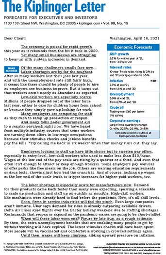 Latest issue of The Kiplinger Letter Magazine