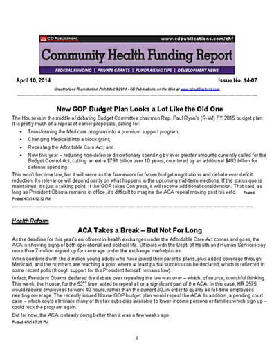 Latest issue of Community Health Funding Report