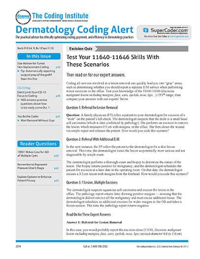 Latest issue of Dermatology Coding Alert