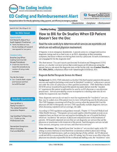Latest issue of ED Coding Alert