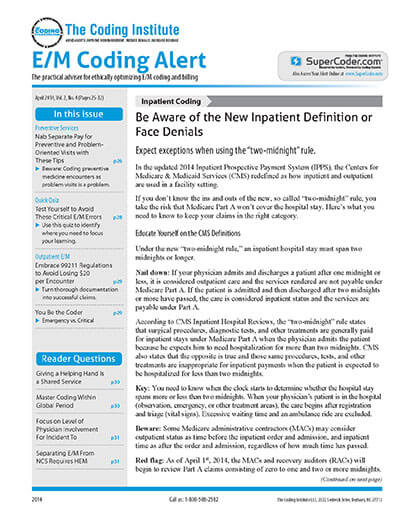 Latest issue of EM Coding Alert