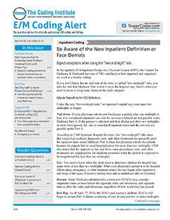 Latest issue of EM Coding Alert