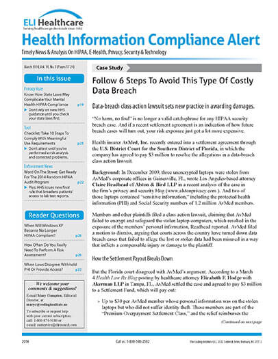 Subscribe to Health Information Compliance Alert