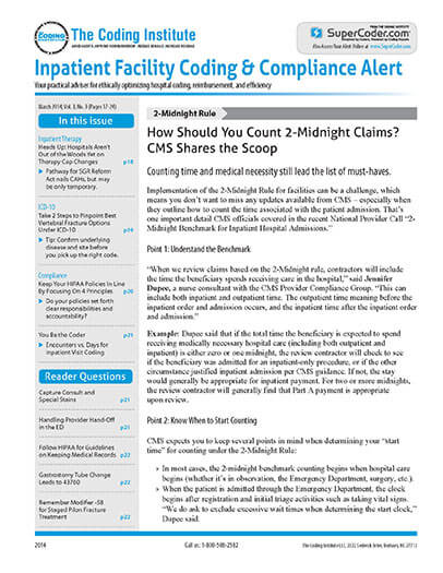 Subscribe to Inpatient Facility Coding & Compliance Alert