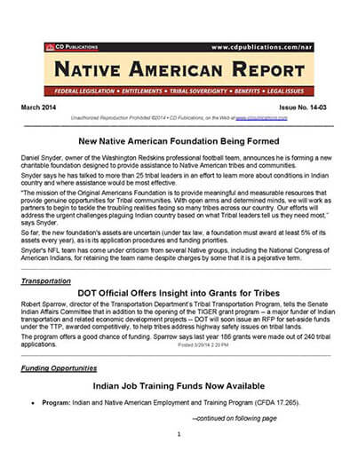 Latest issue of Native American Report