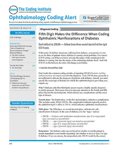 Subscribe to Ophthalmology Coding Alert