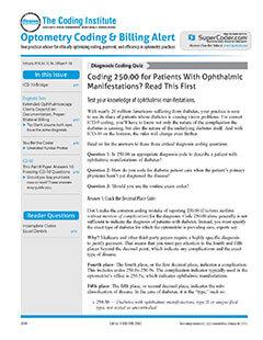 Latest issue of Optometry Coding & Billing Alert Magazine