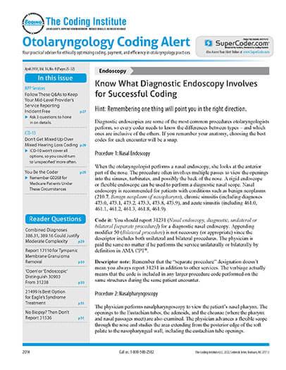Latest issue of Otolaryngology Coding Alert Magazine