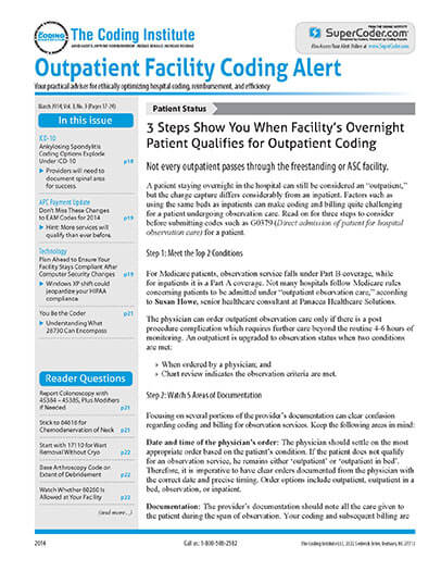 Subscribe to Outpatient Facility Coding Alert