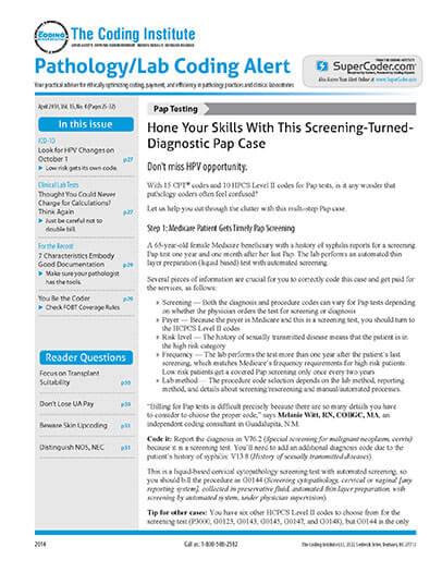 More Details about Pathology/Lab Coding Alert
