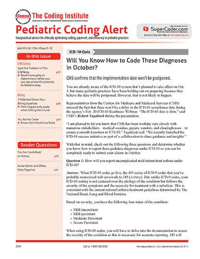 Latest issue of Pediatric Coding Alert Magazine