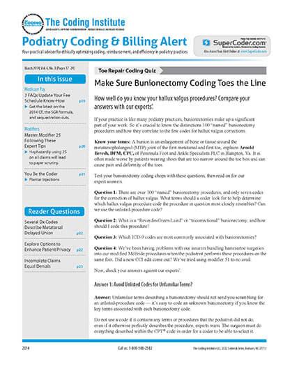Latest issue of Podiatry Coding Alert Magazine