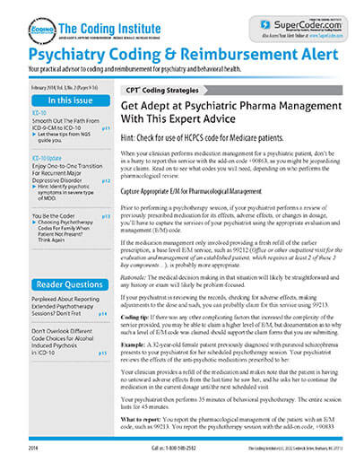 Latest issue of Psychiatry Coding & Reimbursement Alert Magazine