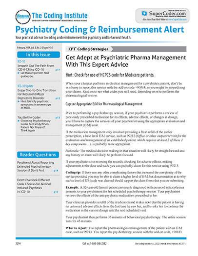 Subscribe to Psychiatry Coding & Reimbursement Alert