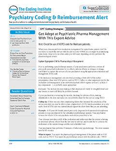 Latest issue of Psychiatry Coding & Reimbursement Alert Magazine
